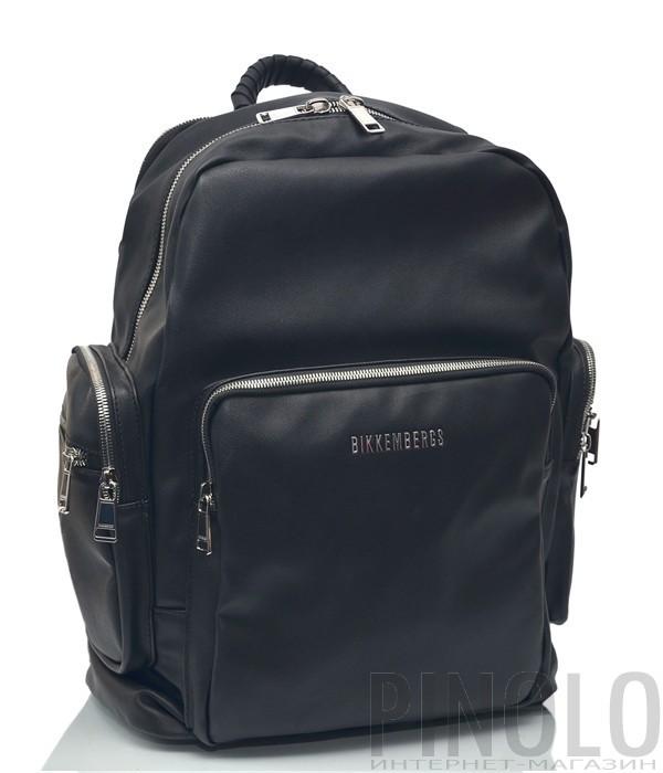Мужской черный рюкзак Bikkembergs 9886 с внешними карманами черный
