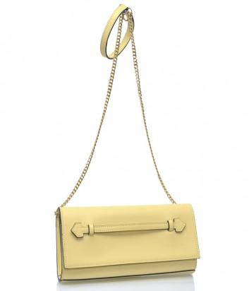 Желтая кожаная сумка-клатч Pierre Cardin 1182 на длинной ручке-цепочке