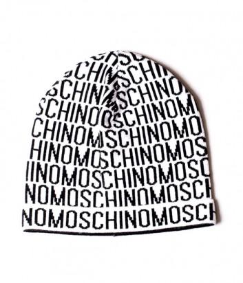 Мужская шапка Moschino 60007 белая с принтом