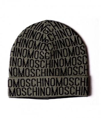 Мужская шапка Moschino 60007 зеленая с черным принтом