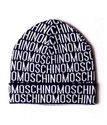 Мужская шапка Moschino 60007 темно-синяя с принтом