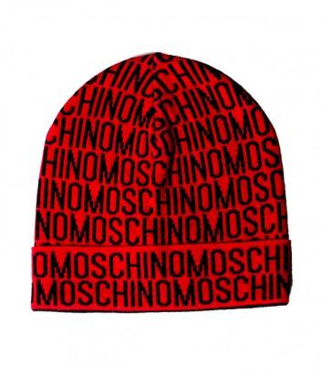 Мужская шапка Moschino 60007 красная с принтом