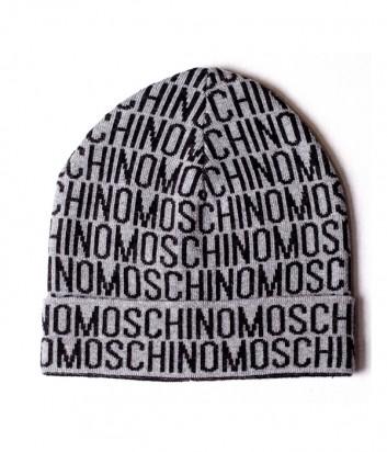 Мужская шапка Moschino 60007 серая с принтом
