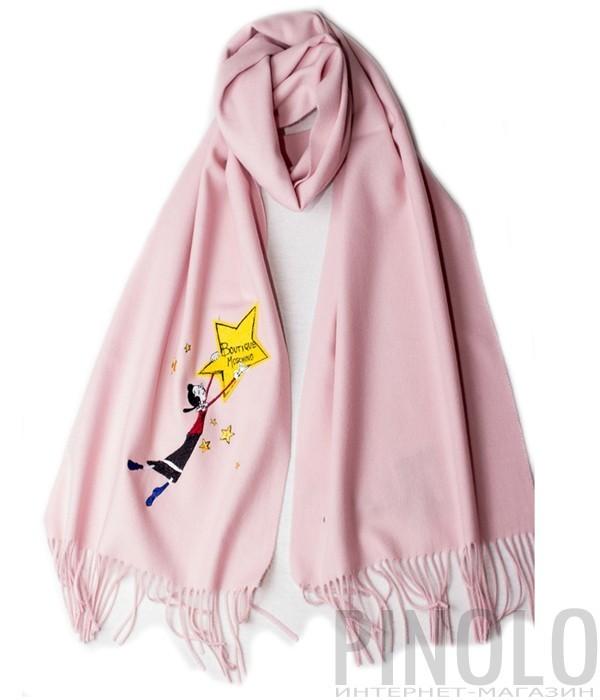 Теплый женский шарф Moschino Boutique 30589 пудровый