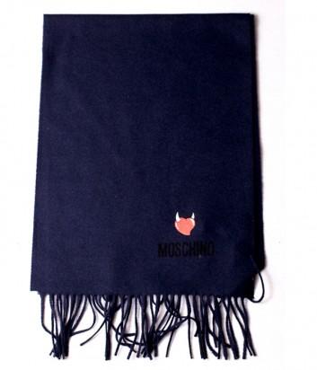 Теплый шарф Moschino 50103 из шерсти мериноса синий