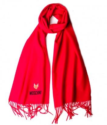 Теплый шарф Moschino 50103 из шерсти мериноса красный