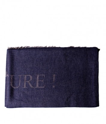 Женский шарф Moschino 30573 с надписями темно-синий