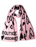 Женский шарф Moschino Boutique 30598 пудрово-черный с рисунком