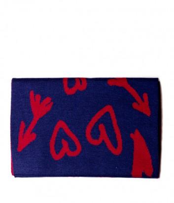 Женский шарф Moschino Boutique 30598 сине-красный с рисунком