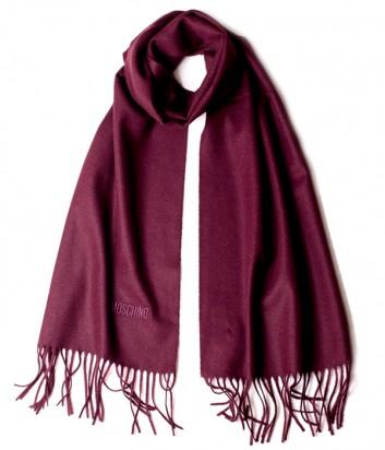 Теплый мужской шарф Moschino 50092 из шерсти мериноса бордовый