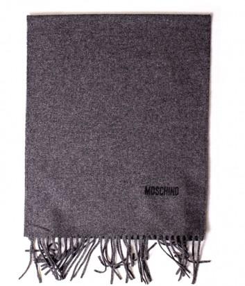 Теплый мужской шарф Moschino 50092 из шерсти мериноса темно-серый
