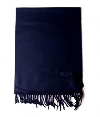 Теплый мужской шарф Moschino 50092 из шерсти мериноса синий