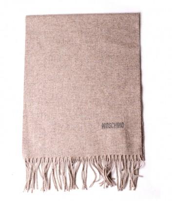Теплый мужской шарф Moschino 50092 из шерсти мериноса кофейный