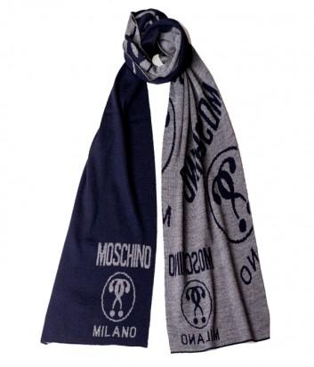Теплый мужской шарф Moschino 50055 синий с серым рисунком