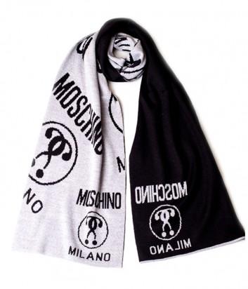 Теплый мужской шарф Moschino 50055 черный с серым рисунком