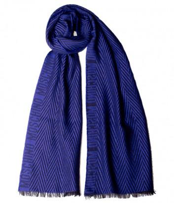 Теплый мужской шарф Moschino 50085 синий с принтом