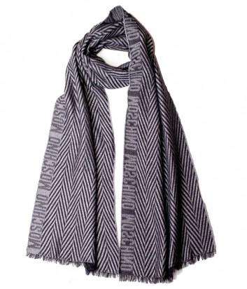 Теплый мужской шарф Moschino 50085 серый с принтом
