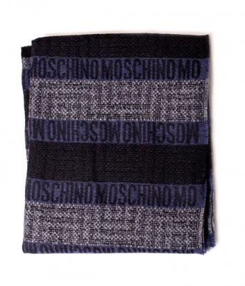 Теплый мужской шарф Moschino 50086 черно-синий
