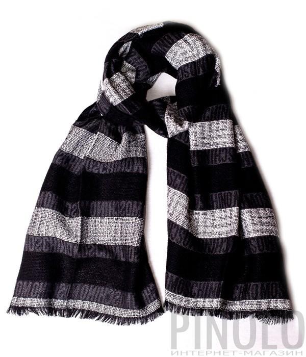 Теплый мужской шарф Moschino 50086 серый