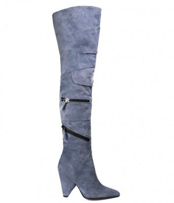 Замшевые ботфорты Hestia Venezia 9625 голубые