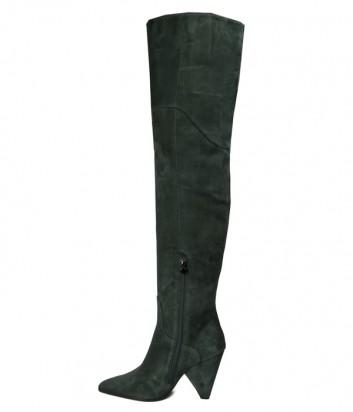 Замшевые ботфорты Hestia Venezia 9623 зеленые