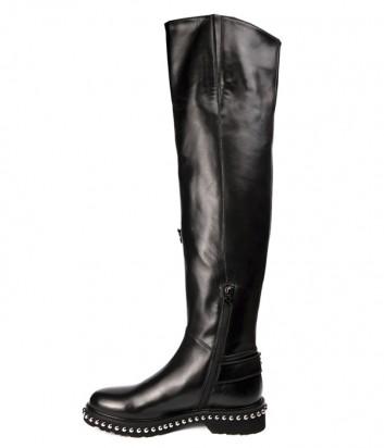 Черные кожаные ботфорты Hestia Venezia 9646 с декором