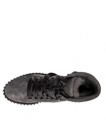 Серые замшевые ботинки Hestia Venezia 9650 на меху с декором