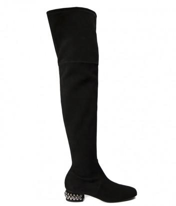 Черные замшевые ботфорты Nina Lilou 282679 на маленьком каблуке