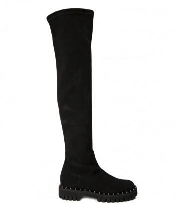 Черные замшевые сапоги Nina Lilou 282691 на маленьком каблуке