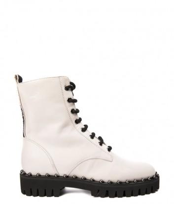 Кремовые кожаные ботинки Nina Lilou 282690 с декором