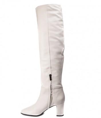 Высокие кожаные сапоги Nina Lilou 282757 кремовые