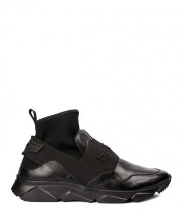Черные кожаные кроссовки Roberto Botticelli 37155 с эластичным голенищем