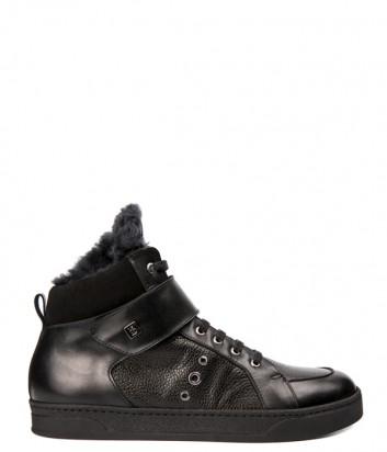 Высокие кожаные кеды Roberto Botticelli 37521 на меху черные