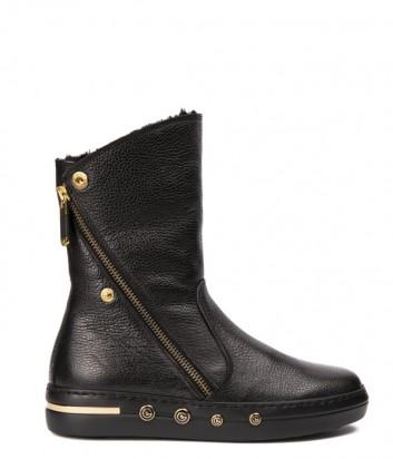 Черные кожаные сапоги на меху Baldinini 948017 с молнией
