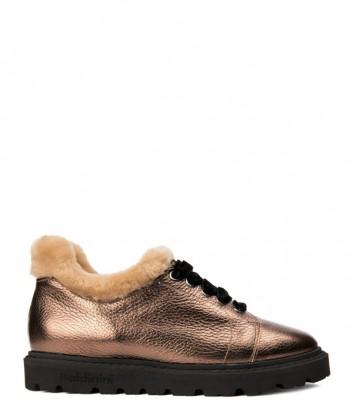 Золотые кожаные ботинки Baldinini 948258 на меху
