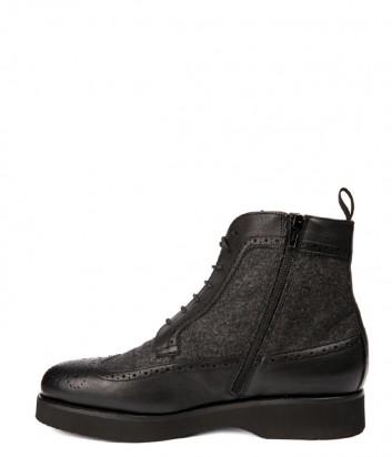 Теплые кожаные ботинки Baldinini 946205 на меху черные