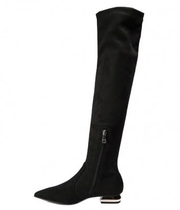 Черные замшевые ботфорты MA&LO 9066 на маленьком каблуке