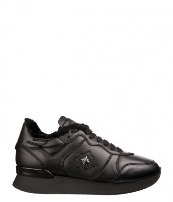 Черные кожаные кроссовки John Richmond 5804 с мехом внутри