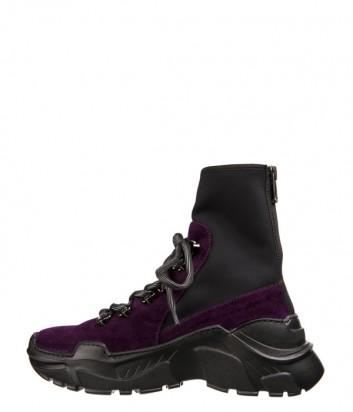 Фиолетовые замшевые кроссовки Fru.it 5229 на высокой танкетке