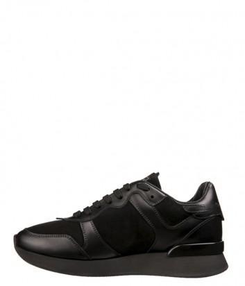 Черные кожаные кроссовки John Richmond 5804 с замшевыми вставками