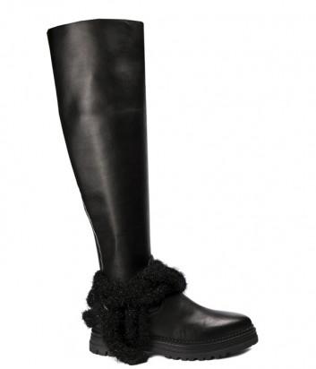 Черные кожаные сапоги Fru.it 4960M с декором на щиколотке