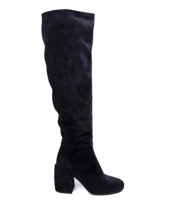 Синие замшевые сапоги Fru.it 5080 на широком каблуке