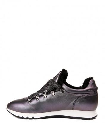 Перламутровые кожаные кроссовки Voile Blanche 2012794 на меху