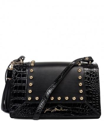 Черная кожаная сумка через плечо Baldinini 260032 с тиснением под крокодила по канту