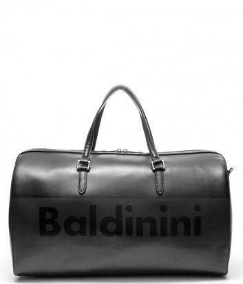 Кожаная дорожная сумка Baldinini 450052 с надписью бренда черная