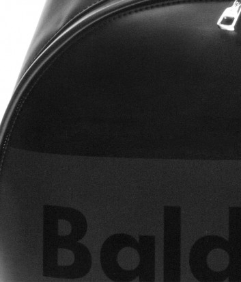 Мужской кожаный рюкзак Baldinini 450062 с надписью бренда черный