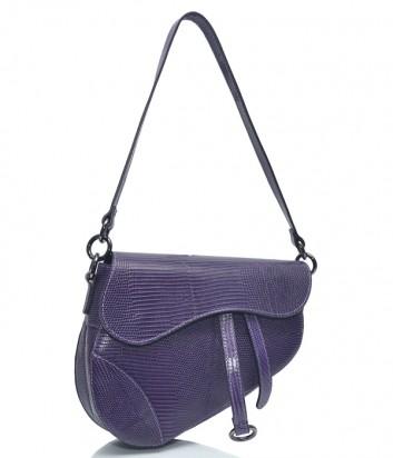 Кожаная сумка-седло Leather Country 3893347 с тиснением фиолетовая