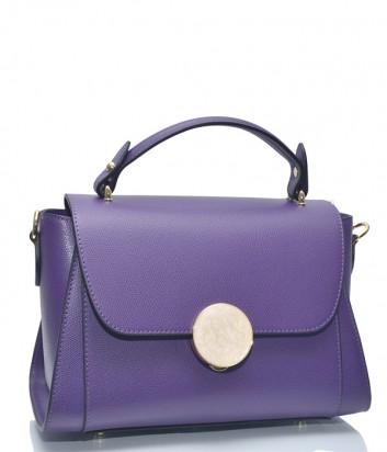 Фиолетовая кожаная сумка Leather Country 3893328 с откидным клапаном