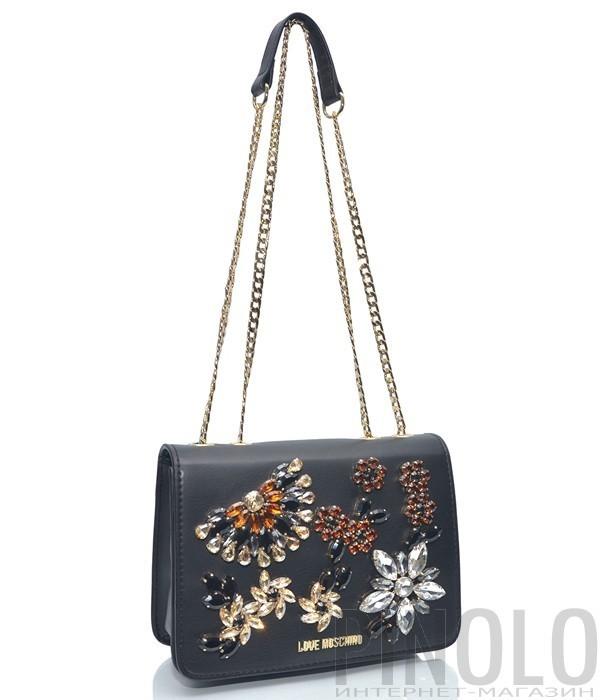 9ce5147257d6 Черная сумочка на цепочке Love Moschino 4305 декорированная кристаллами