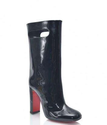 Черные лаковые сапоги Christian Louboutin CL100 на широком каблуке